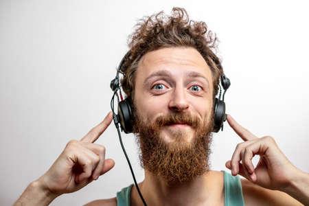 Man wearing Headphone close up.