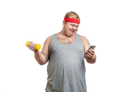 happy fat man with red hairband holding dumbbell.