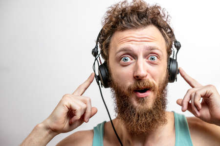 Man wearing headphones background.