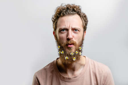 Man with little chamomiles in  beard .
