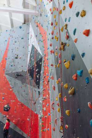 empty modern rock climbing room. sport, lifestyle , fitness. entertainment, room for unforgettable experience Stok Fotoğraf