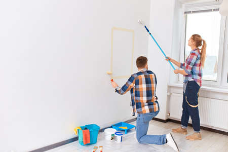 Young couple started a painting company, and as a favor to their landlord, they came over and started painting his new office.