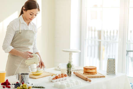 Young awesome pleasant girl baking a pie in the kitchen. Chinese, Asian woman using a mixer to whisk the fresh ingredients in a glass mixing bowl, job, profession, copy space Stockfoto