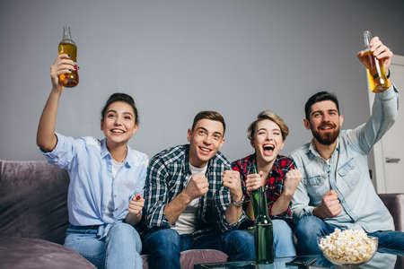 Peoples celebrating at home. Stockfoto
