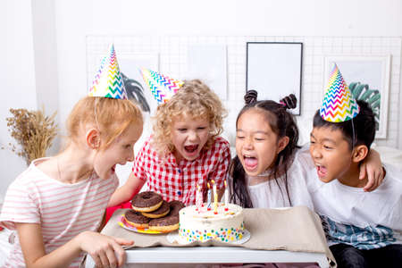 cute little kids singing songs on birthday party . close up photo.entertainment