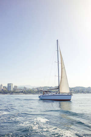 Beautiful luxury yacht with white sails is for those who truly know how to live. Banque d'images