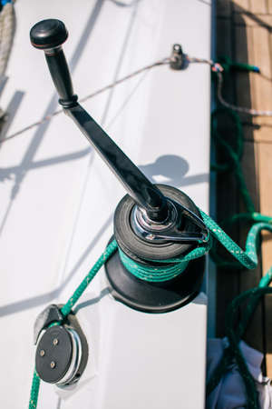 Luxury yacht tackle, winch during the ocean voyage