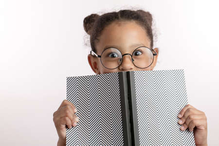 clever little girl with hairbunds and round glasses hiding behind the notepad. kid is playing hide and sick. genius concept 스톡 콘텐츠