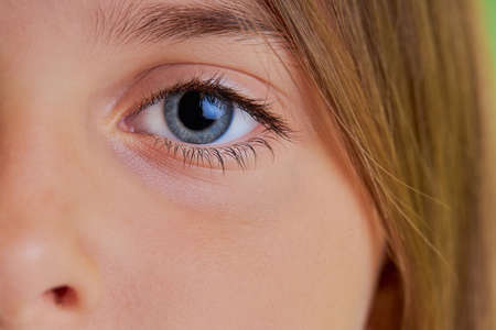 close-up photo of little girls blue eyes, macro photo of childs eyes, look at camera. natural beauty, fresh skin concept