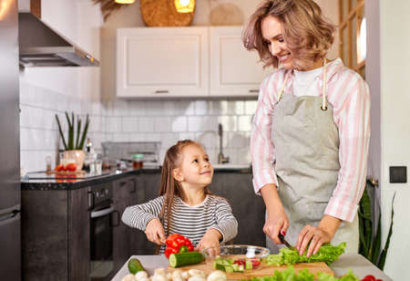 jolly child girl preparing a salad with her mother in the modern light kitchen, enjoy the process of preparing meal Imagens