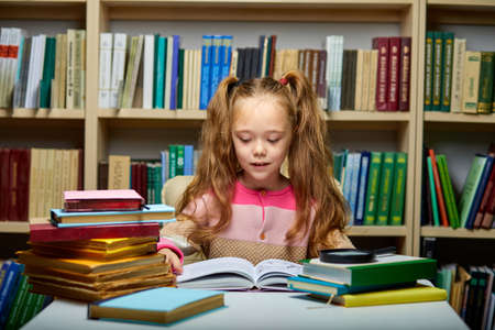 preschool girl reading book in library with patience, caucasian kid girl is concentrated on education, getting knowledge. child s brain development, learn to read, cognitive skills concept