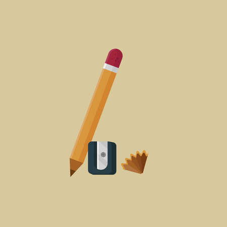 Pencil, sharpener and shavings flat illustration. Drawing, sketching, stationery. Back to school concept. Can be used for topics like art, creativity, education