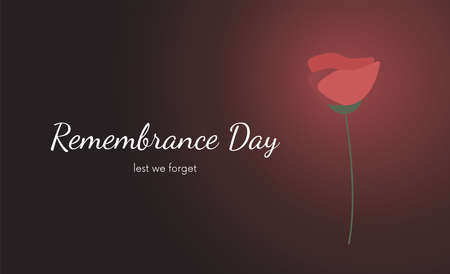 Remembrance Day greeting card. Memorial anniversary holiday. War remembrance day poster or banner design with red poppy flower