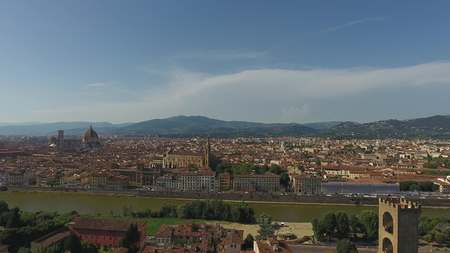 Aerial view Beautiful Cityscape of Florence with the Cathedral Santa Maria del Fiore, Florence, Tuscany, Italy. Aerial Panoramic photo