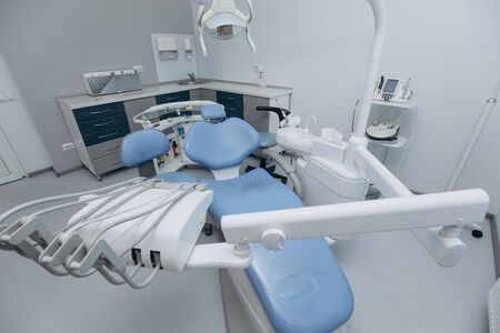 Modern dental office interior. Stomatology. Dentistry. Medicine, medical equipment and stomatology concep