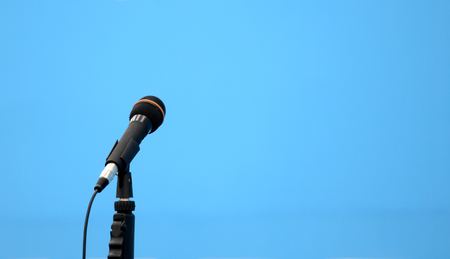 one microphones in the holl Stock Photo