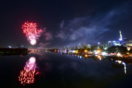 Goyang Flower Fair Fireworks Show Stock Photo - 79036313