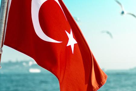 Turkish Flag with seascape background Stock Photo
