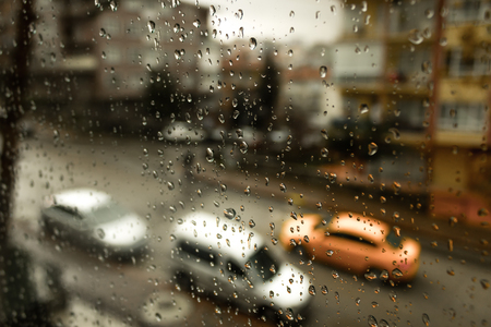 rain street car glass