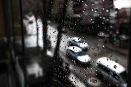 rain street car glass