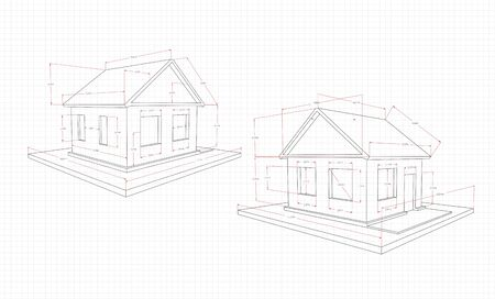 The technical drawing of the house is black, two options, with red size indicators, on a sheet of paper in a cage