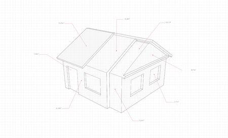 Schnittzeichnung eines Hauses mit roten Zeigern auf einem Notizbuchblatt in einem Käfig
