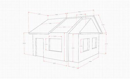 Technische Zeichnung eines Hauses in einem Abschnitt in schwarzen Linien auf weißem Hintergrund mit roten Zeigern auf einem Notebook-Blatt