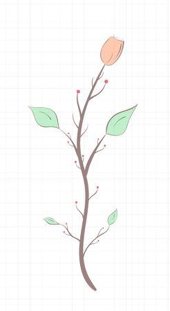 Branch with flower and leaves, vintage style light tones on a notebook sheet
