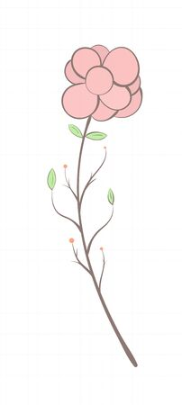 Branch with flower and leaves in bright colors on a sheet of notebook in vintage style.