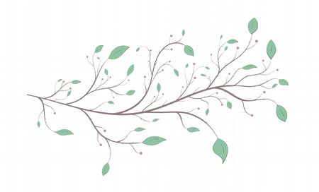 Branch of a tree, bush with leaves and berries in vintage style on a notebook sheet