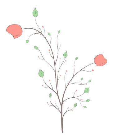 Flowers, leaves and berries on a branch on a white background in vintage style, light lines warm colors