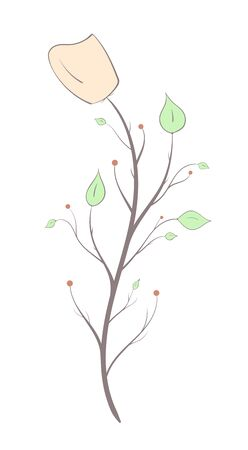 Branch with flower and leaves in an artistic style, light colors and lines on a white background.