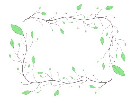Frame of branches with colored leaves and berries in a light art style on a white background Illustration