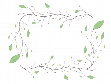 Frame of branches with colored leaves and berries on a sheet of paper in art style on a light background Illustration