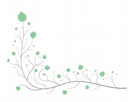 Frame of branches with green leaves and red berries in a light art style, on a notebook sheet
