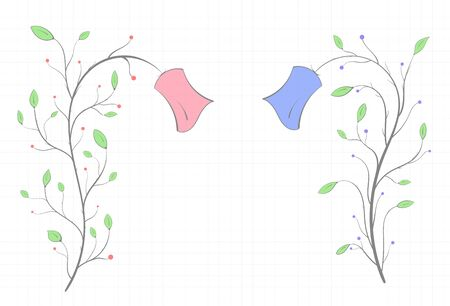 Two flowers of different colors with leaves in the form of a frame on a notebook sheet on a light