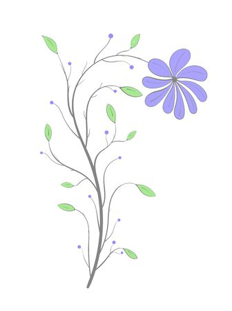 Violet flower on a stem with green leaves on a white  in vintage style Illustration