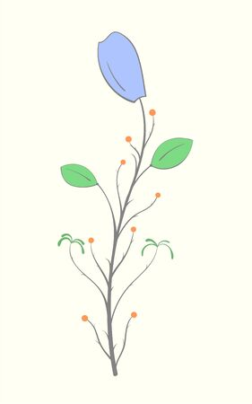 Drawing of a purple flower with green leaves on a light background