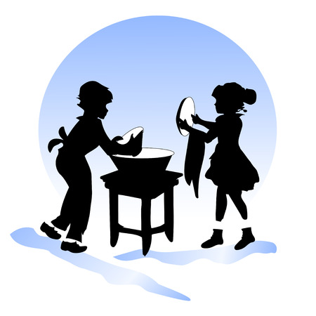washing the dishes: silhouettes of boy and girl washing dishes Illustration