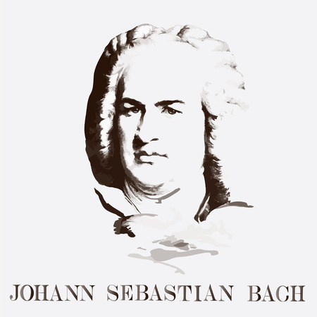 German composer Johann Sebastian Bach. vector portrait  イラスト・ベクター素材