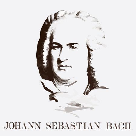 German composer Johann Sebastian Bach. vector portrait Stock Illustratie