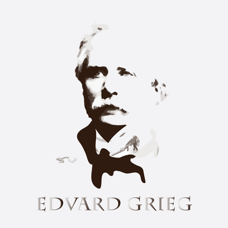 concerto: portrait of the composer and musician Edvard Grieg Illustration