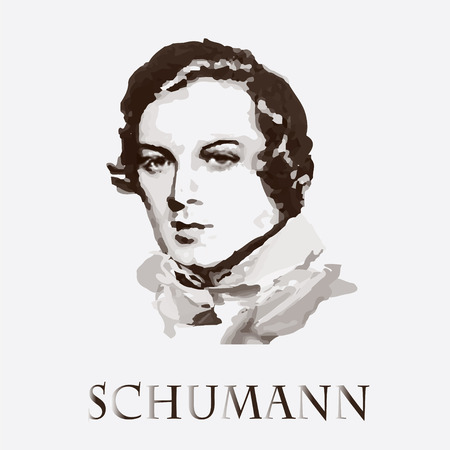 concerto: portrait of the composer and musician Robert Schumann Illustration