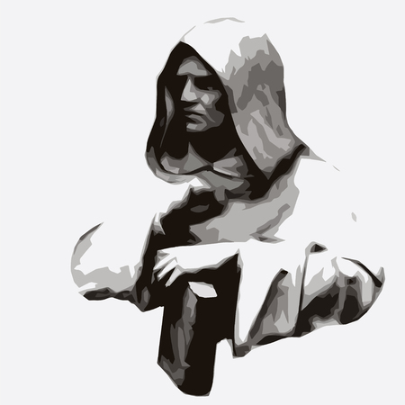 philosopher: vector portrait of the philosopher and scientist Giordano Bruno