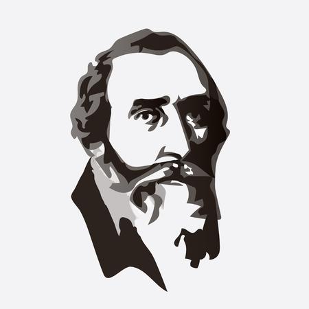 Johannes Kepler - vector portrait of the scientist