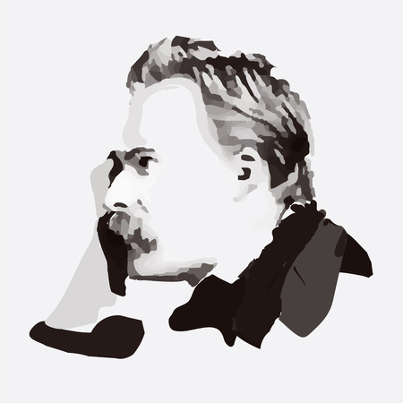 a thinker: Friedrich Nietzsche - portrait of German philosopher and thinker