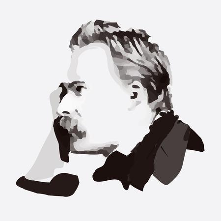 Friedrich Nietzsche - ritratto di filosofo tedesco e pensatore Archivio Fotografico - 56242358