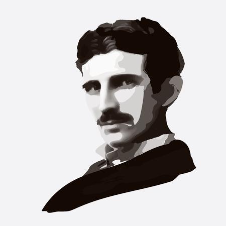 Nikola Tesla - retrato, Tesla de impresión, retrato Tesla Foto de archivo - 56242361