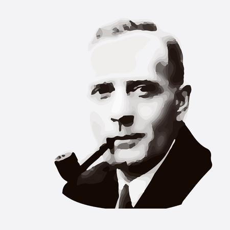 Edwin Hubble - the American scientist. vector portrait