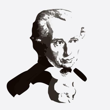 Vector el retrato del filósofo alemán Emmanuel Kant